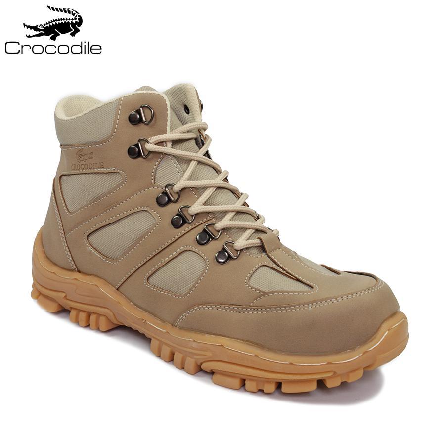 Crocodile Delta Endure Cream Sepatu Boots Pria Safety Tracking Ujung Besi Proyek Kerja Lapangan Hiking Touring