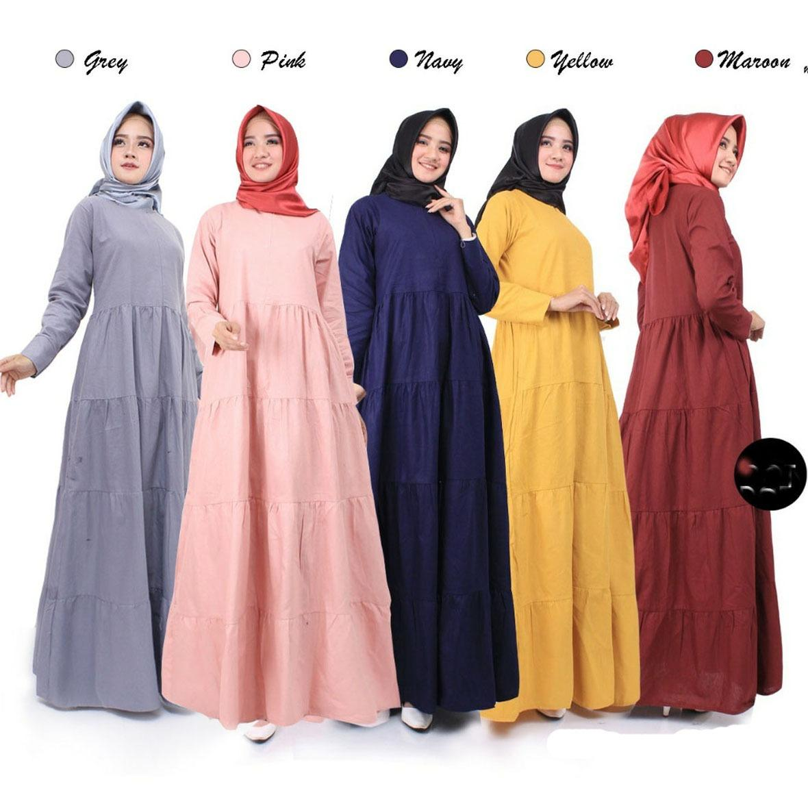 CIPITIHOLIC Baju Gamis Tanpa Hijab Linen Ramy G236 - Ada Sleting Depan Untuk Busui