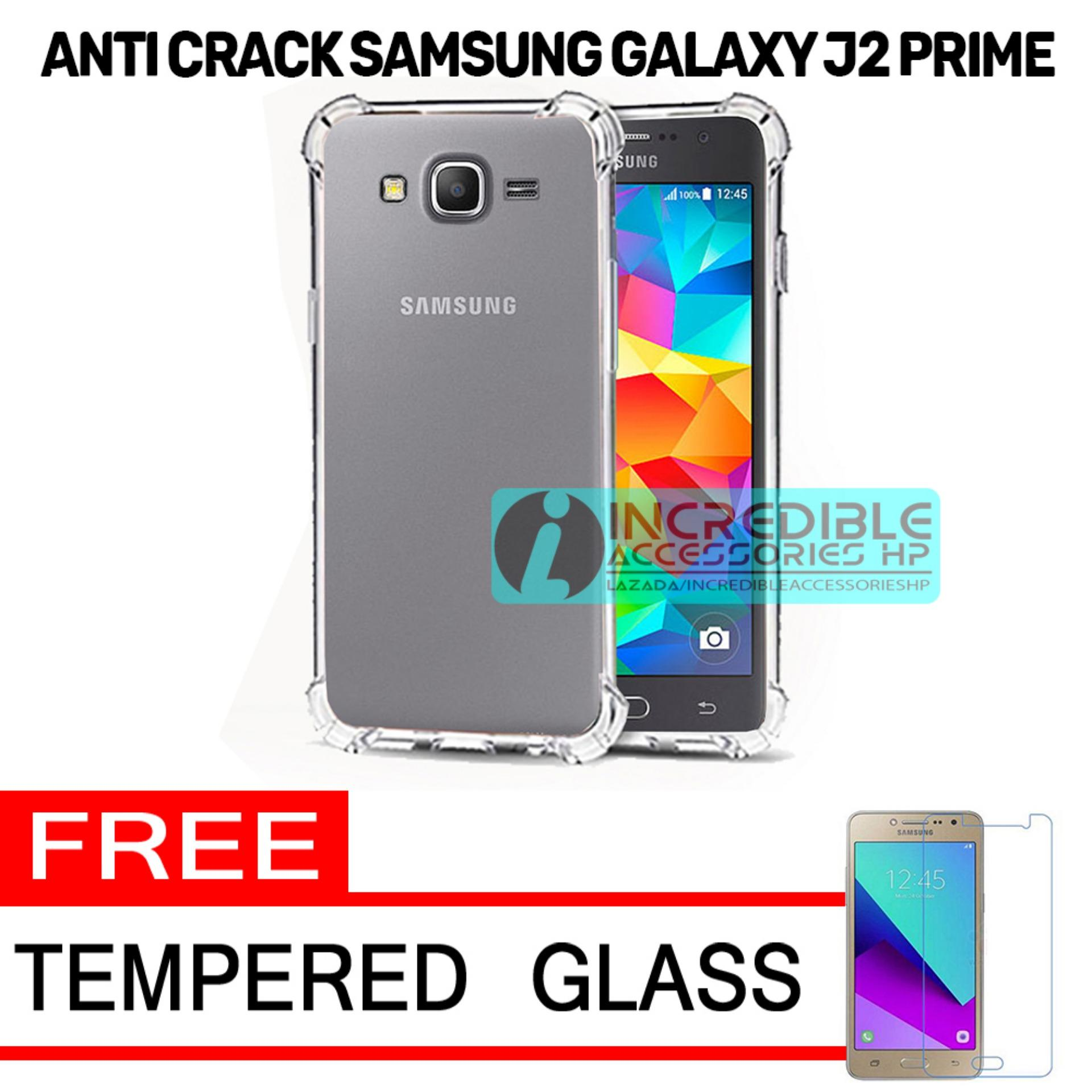 Softcase Silicon Anti Shock / Anti Crack Elegant Softcase  for Samsung Galaxy J2 Prime - White Clear + Free Tempered Glass