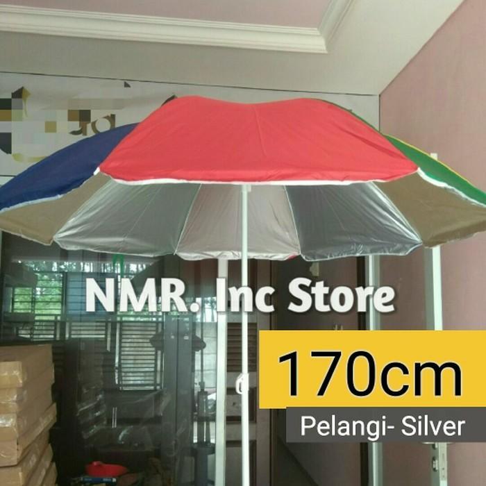 Payung tenda pantai diameter 170cm pelangi-silver Anti-UV