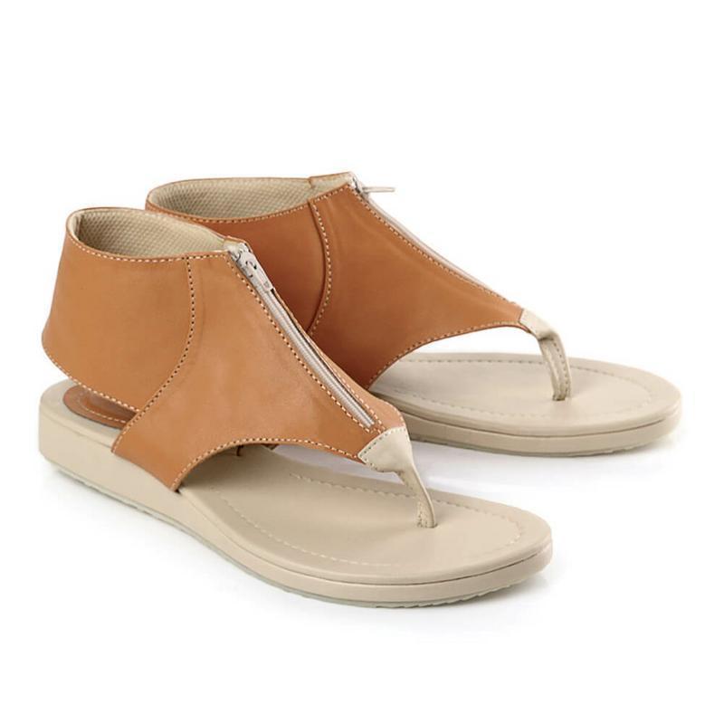 Blackkelly Sandal Flat Wanita Coklat Cream - LRD 529