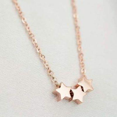Minimalist Triple Stars Simple Titanium Steel Rose Gold Plated 18k Rose Gold By Toko Susu.