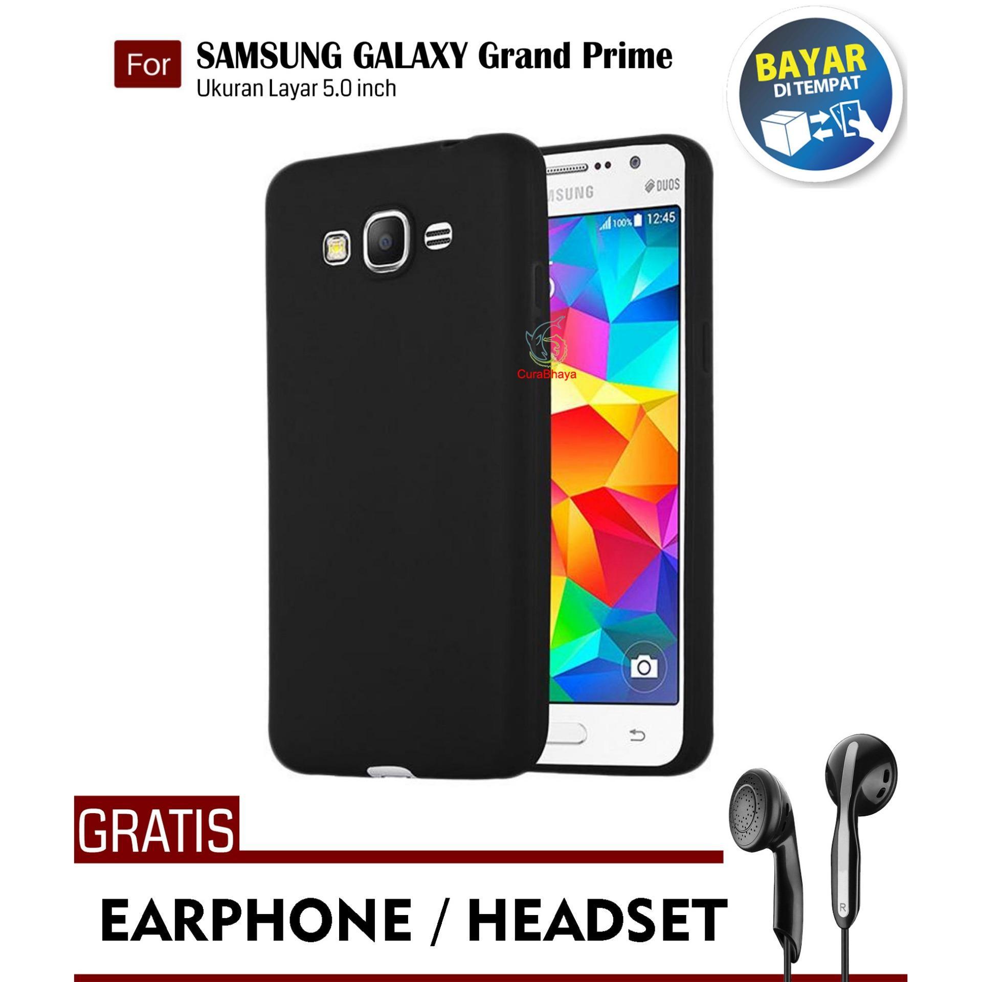 MidNight Samsung Galaxy Grand Prime (G530) / +Plus / Duos   Slim Case Black Matte Softcase Premium Baby Skin + Gratis Free Earphone Headset Handsfree