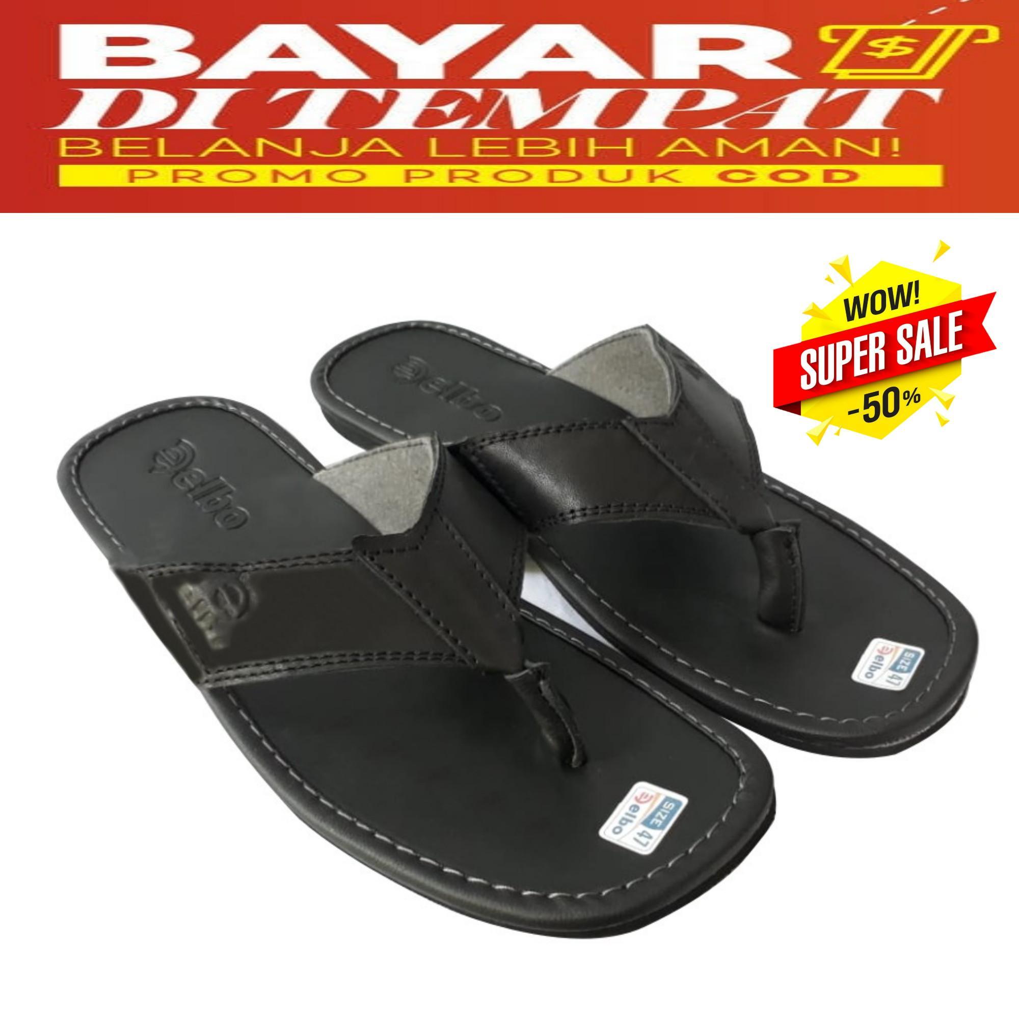 Sandal BIGSIZE SandalJUMBO 44 47 Pria Japit Kulit Black