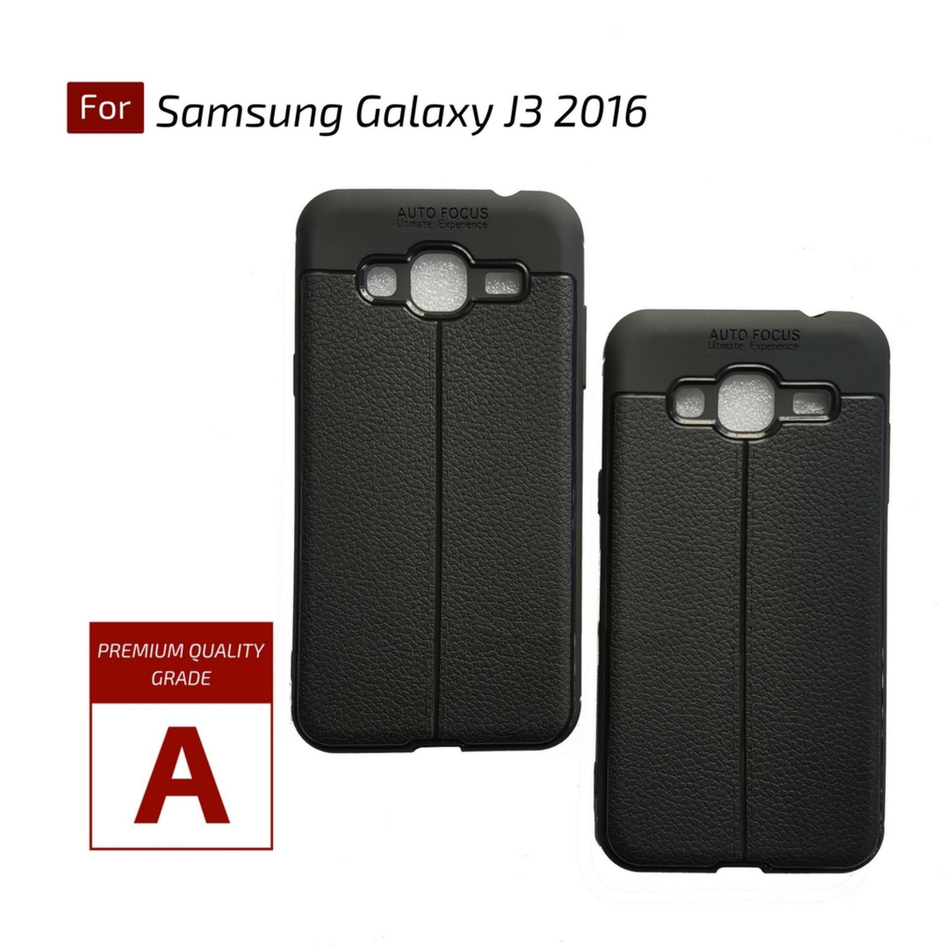 Kenzoe Premium Ultimate Shockproof Leather Case For Samsung Galaxy J3 2016 - Black