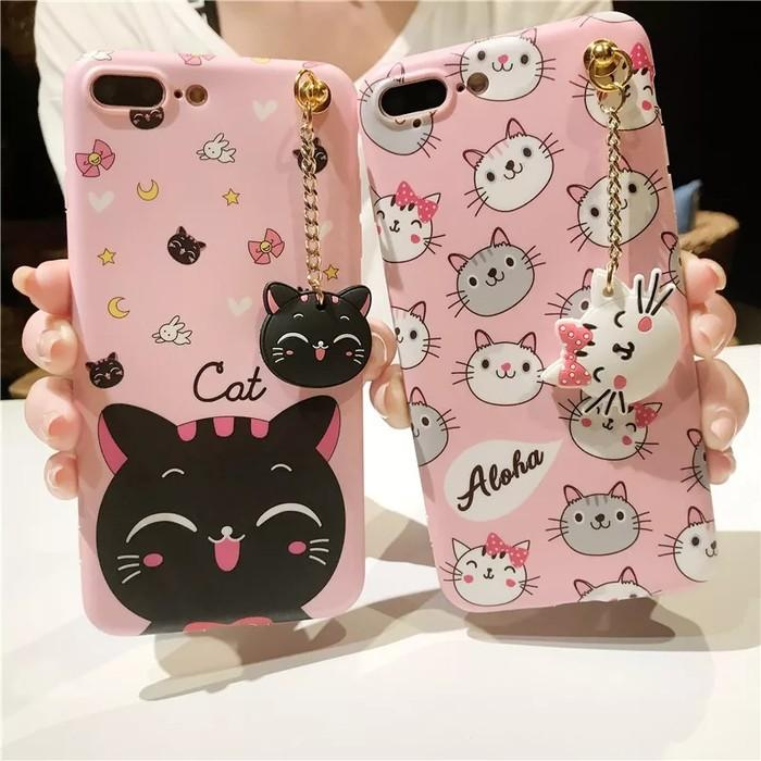 Case Oppo A3s A71 A83 A39 A57 F1 F1f F3 F5 Plus F7 Youth F9 Pro Softcase 3D Cat Kucing Kitty Line Cony Aloha Brown Casing
