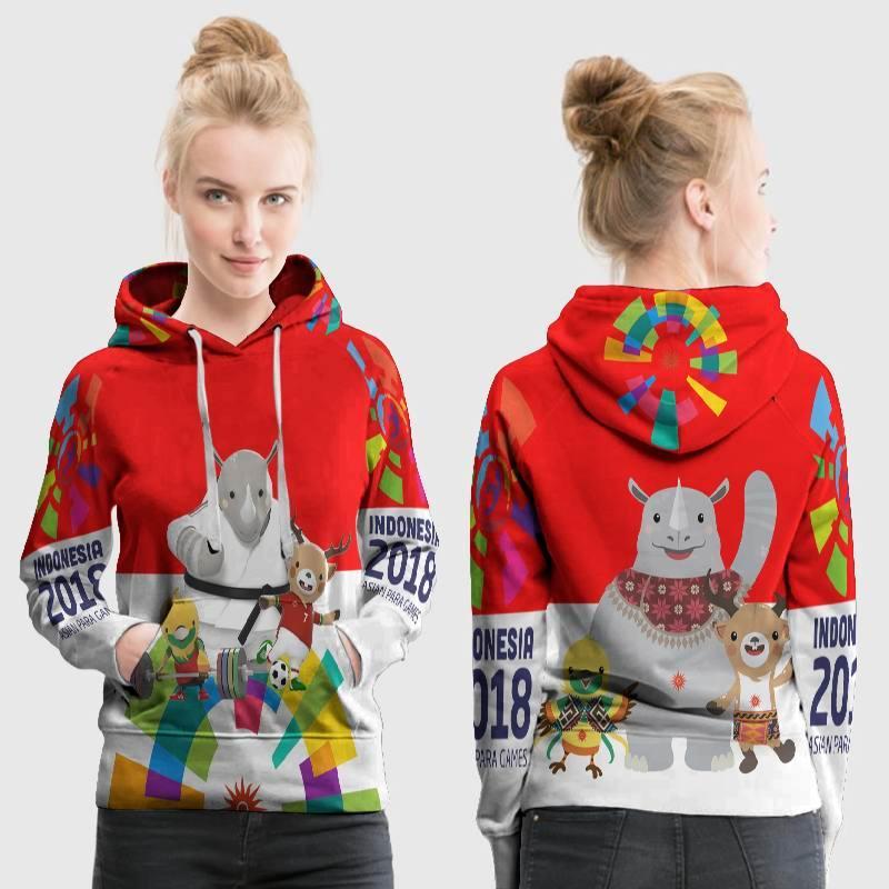 [Utama Media] Jaket Hoodie Sweater Wanita ASIAN GAMES 2018 Jakarta Palembang 3D Full Print Sublimation PullOver Terbaru