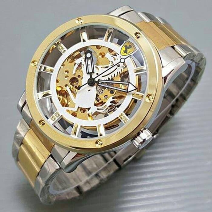 jam tangan pria / jam tangan pria original / jam tangan pria murah, jam tangan pria terbaru, jam tangan pria anti air / jam tangan pria 2018 / jam tangan pria terbaik / Jam Tangan Pria Ferrari Skeleton Emblem Rantai Kombinasi plat White DISKON MURAH!!!