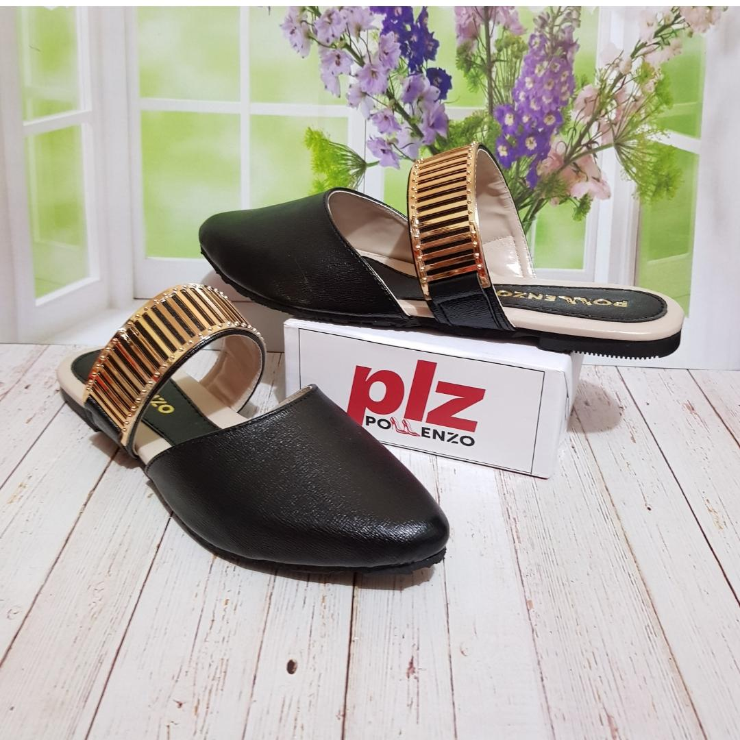 Buy Sell Cheapest Pollenzo Melvern Sepatu Best Quality Product Slip On Trendy White Neva Selop Sandal Black