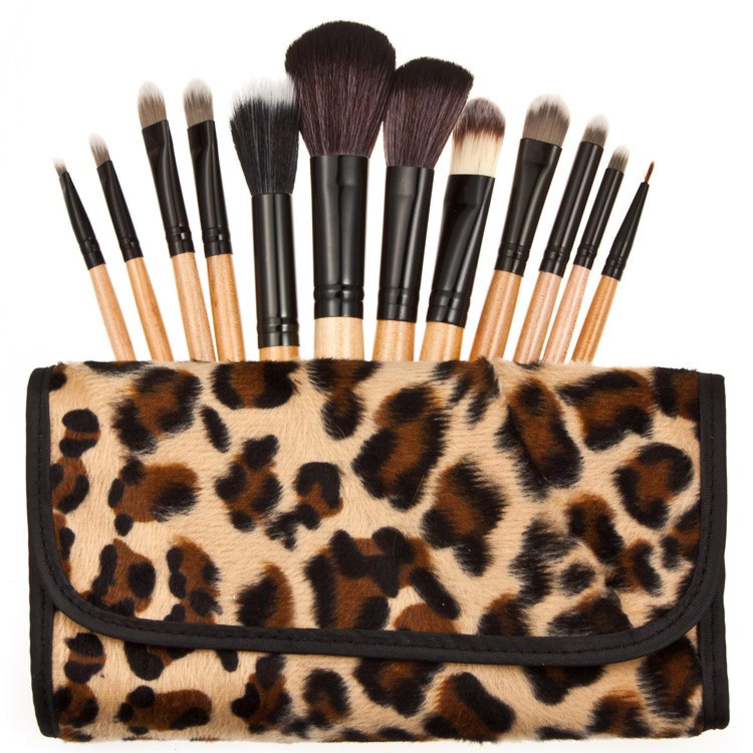 Brush Make Up Kosmetik 12 Set dengan Sarung Leopard Asli Original Murah