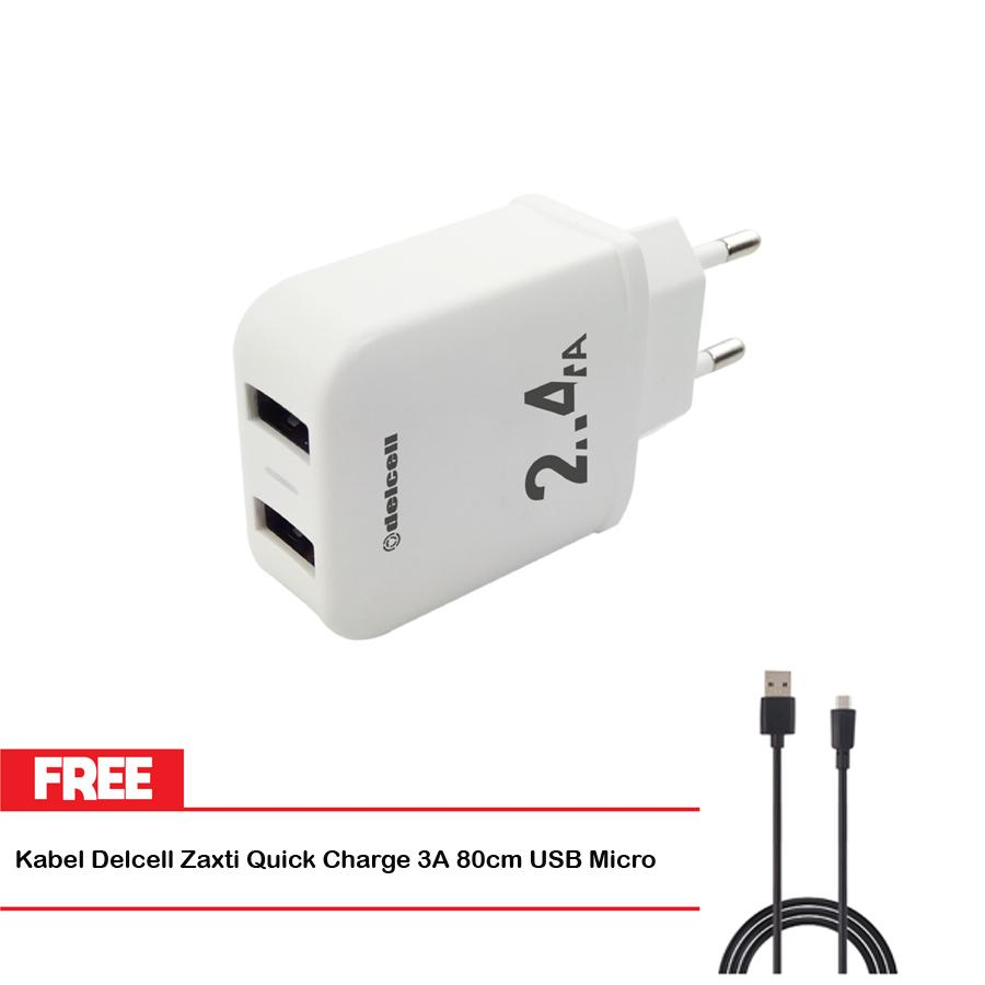Delcell Adaptor Deux Charger 2.4A Dual Port Output Free Delcell Zaxti Cable Quick Charge 80cm