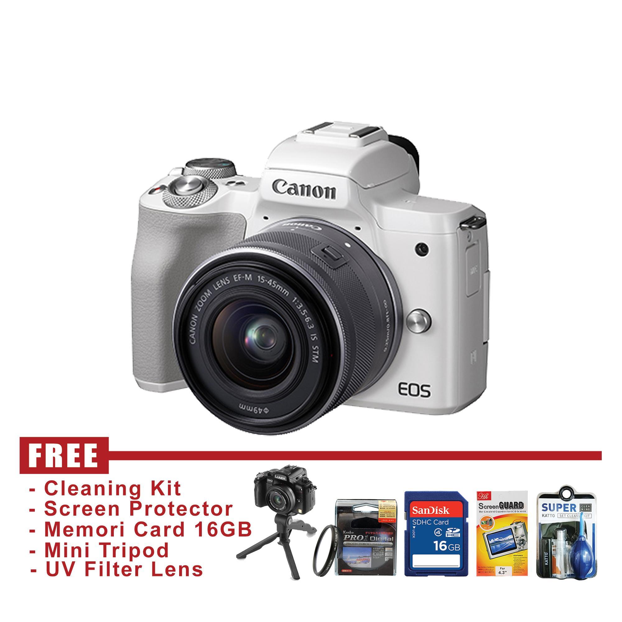 Canon EOS M50 Kit 15-45mm - Putih - FREE Accessories