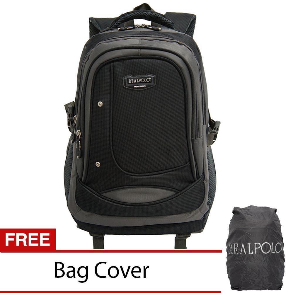 Real Polo Tas Ransel Kasual - Tas Pria Tas Wanita 6308 - Bonus Bag Cover - Hitam a
