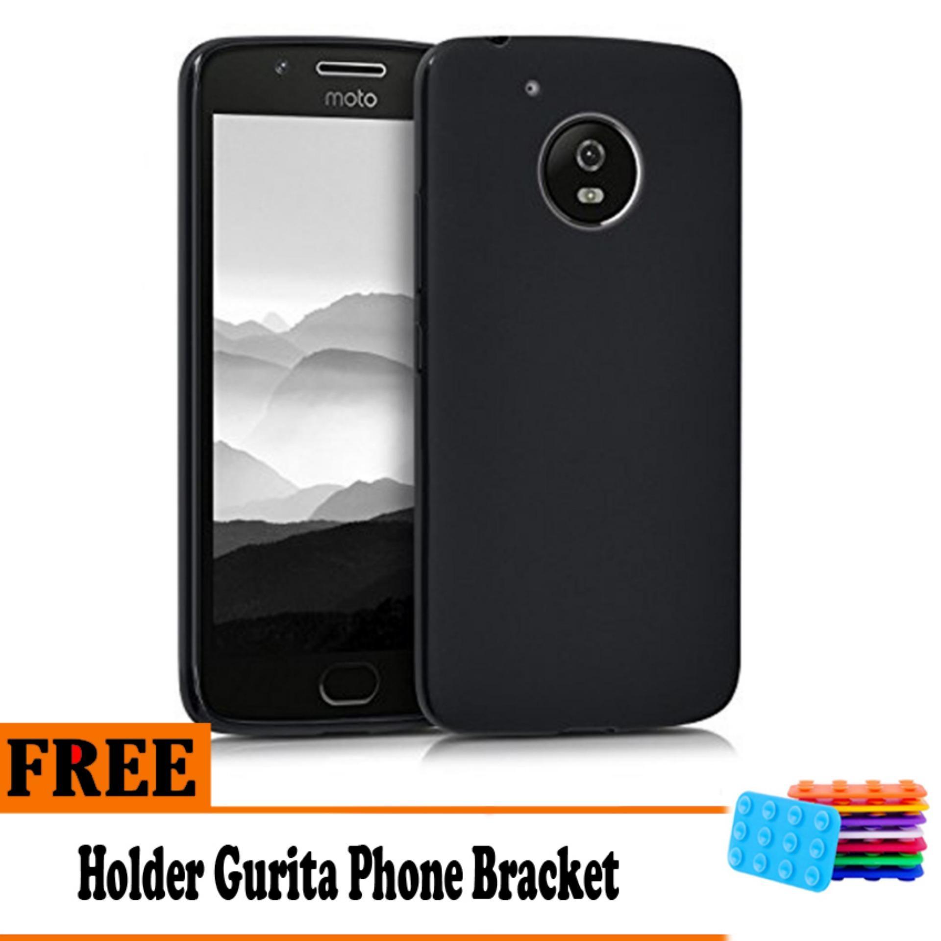 Barokah Premium  Slim Black Matte Shockproof Case for Motorola Moto E4 Plus   - Free Holder Gurita