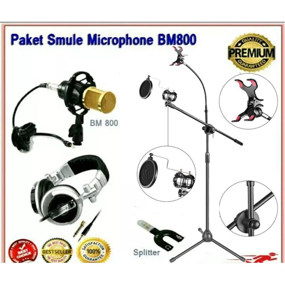 Paket Premium Smule Pro V  Stand Microphone + Pop Filter + Mic Condensor Pro BM800 + Headphone Sony + Splitter