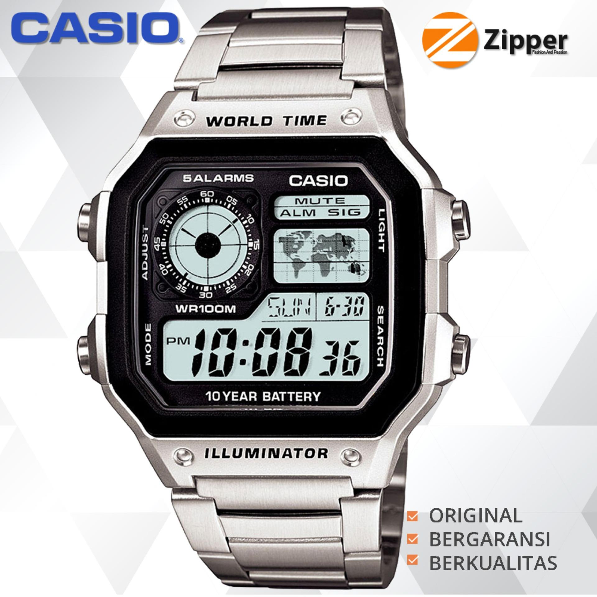 Casio Illuminator Jam Tangan Digital AE-1200WHD-1AVDF Youth Series - Tali Stainless Steel Promo