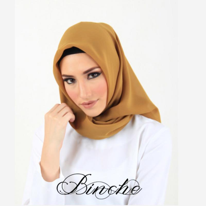 Binche حجاب يومي Hijab mustard sahira Square Japanese Poton
