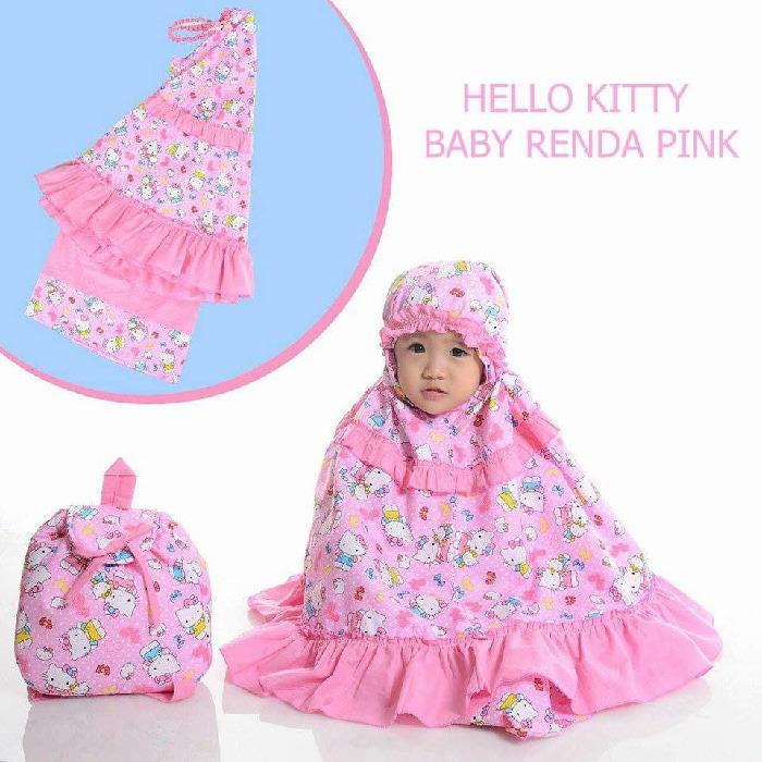 MUKENA ANAK HELLO KITTY RENDA PINK SIZE XXS / BABY (1-2 TAHUN)