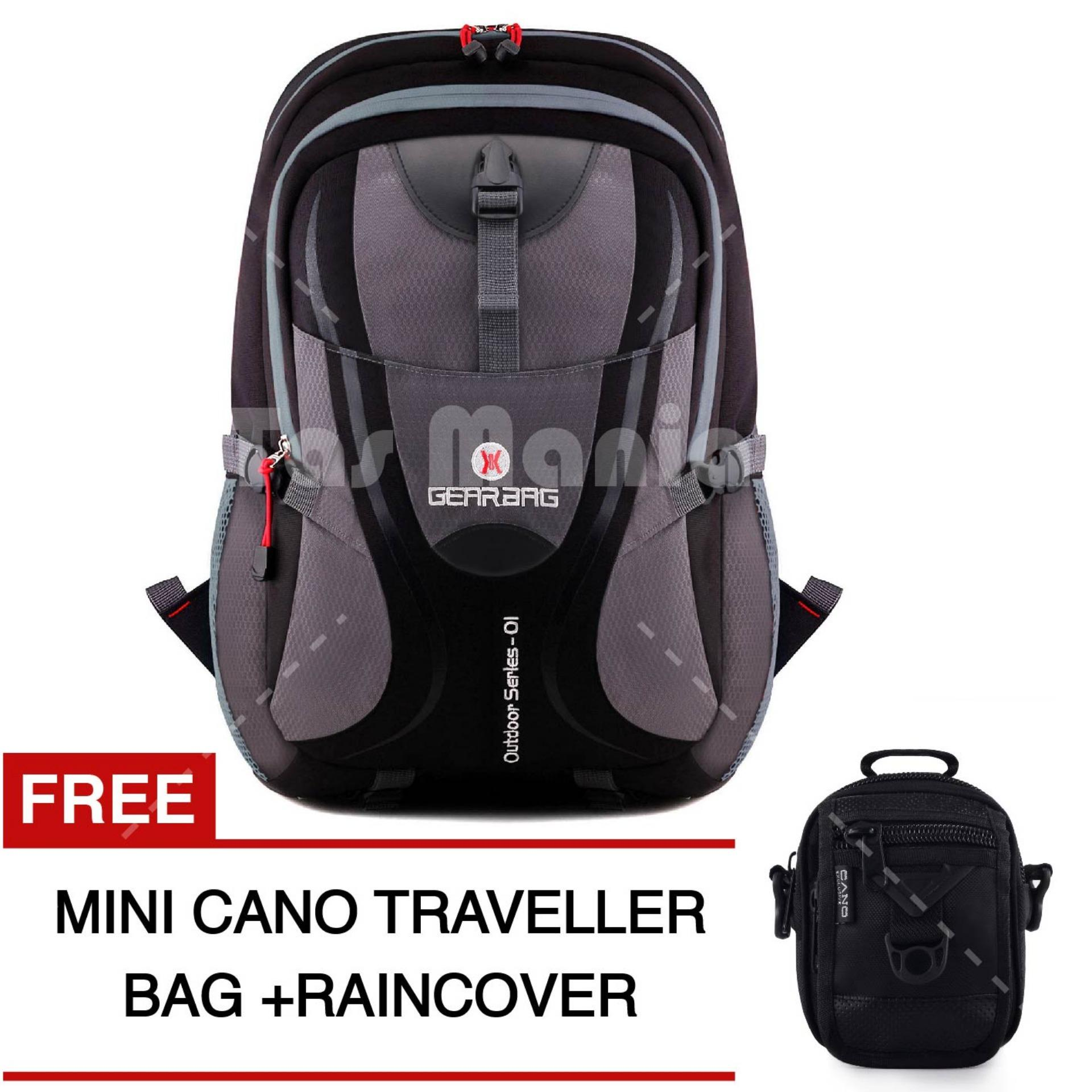 Tas Ransel Pria Gear Bag - Scorpion X87 Tas Laptop Backpack - Black Grey + Raincover + FREE Tas Selempang Mini Cano Traveller  - Black Promo Diskon Murah Tas Kerja Kantor Kuliah Anti Air Eiger Rei Consina North Face Deuter Termurah Terlaris Best Seller