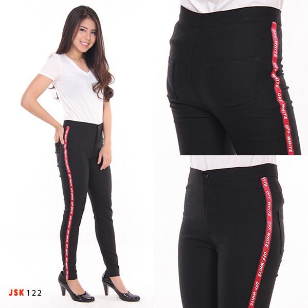 JSK Celana panjang wanita Highwaist Cotton list OFF White terbaru-Hitam 122