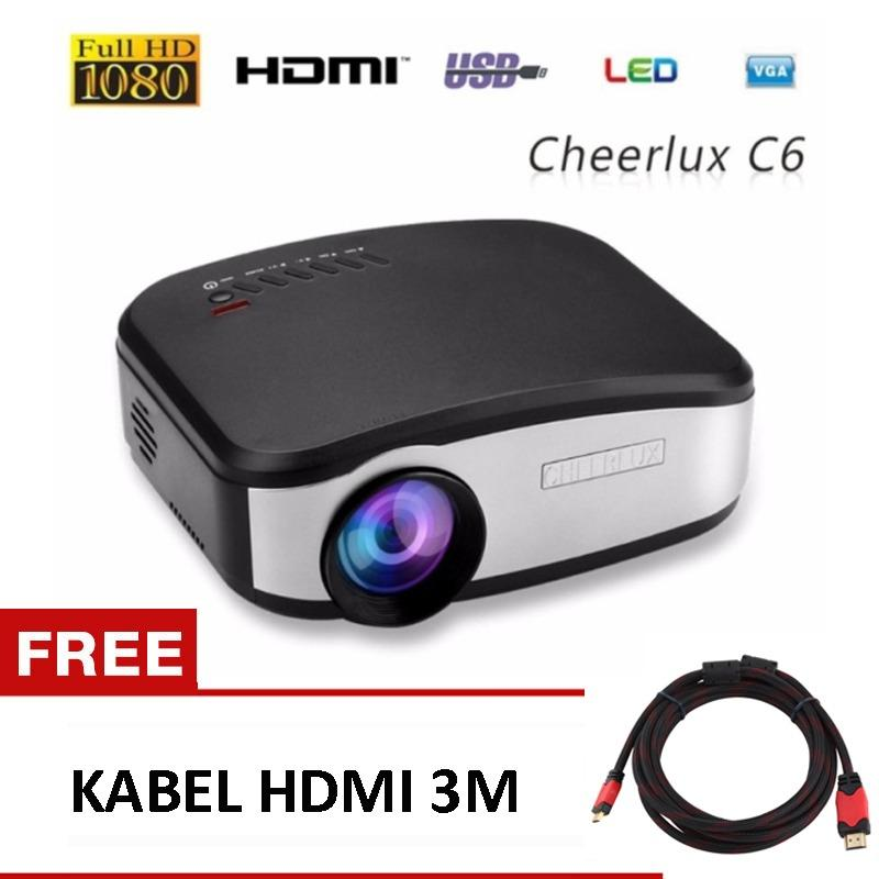 CHEERLUX C6 Mini LCD Portable LED Projector Proyektor 1080p HD 800x480 1200 Lumens Support HDMI USB VGA AV FREE KABEL HDMI 3M