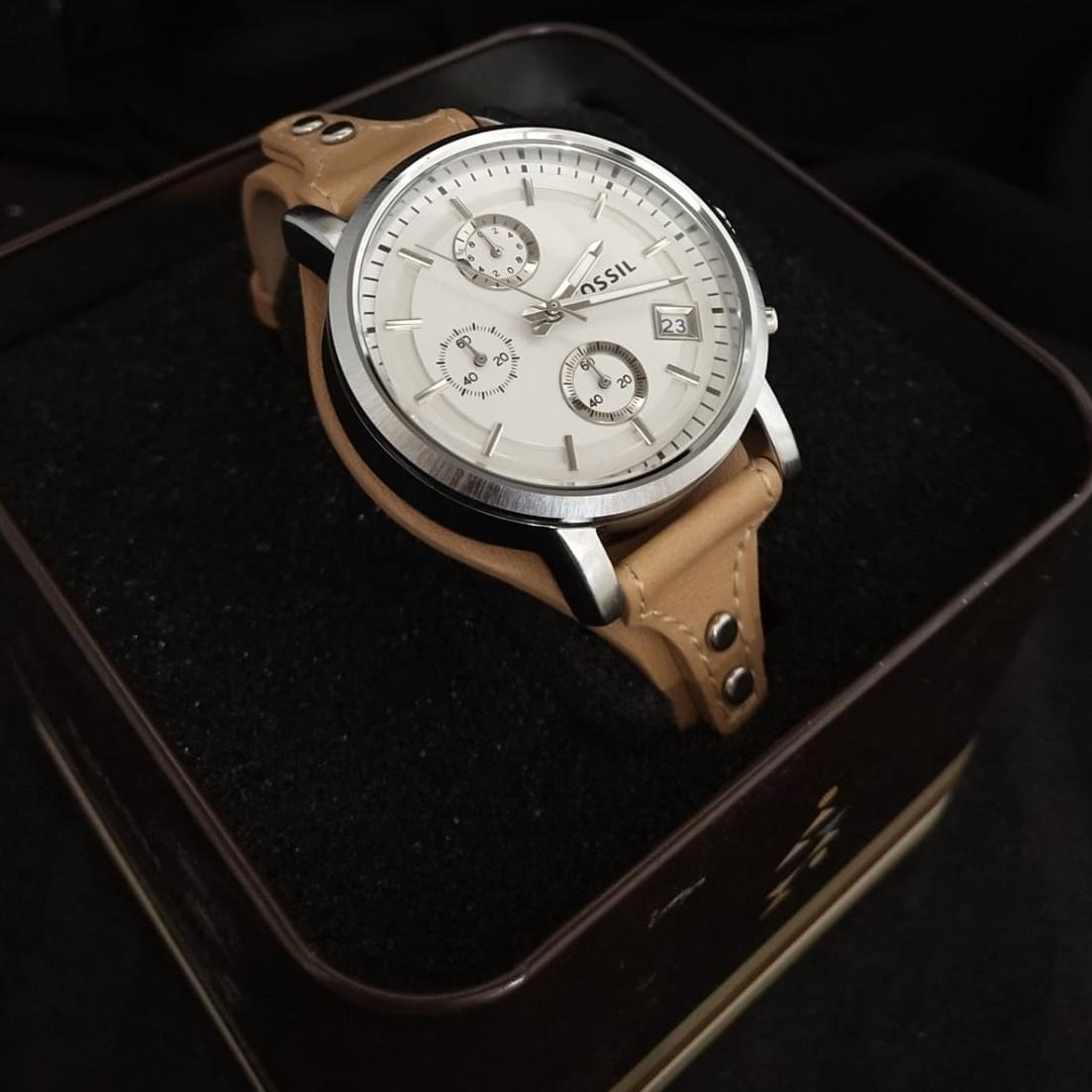 Jam Tangan Fossil Wanita Modern Pursuit Chronograph Blue Silicone Watch Es 4023 Es3616 Boyfriend Brown