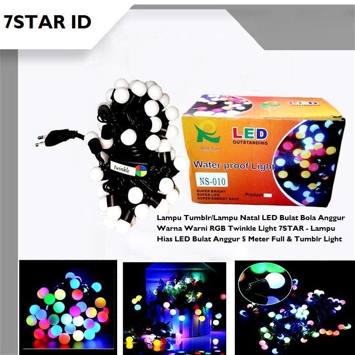 Lampu Tumblr Bulat Bola Anggur Warna Warni Rainbow/Lampu Natal LED RGB Twinkle Light 7STAR 5 Meter Full & Tumblr Light
