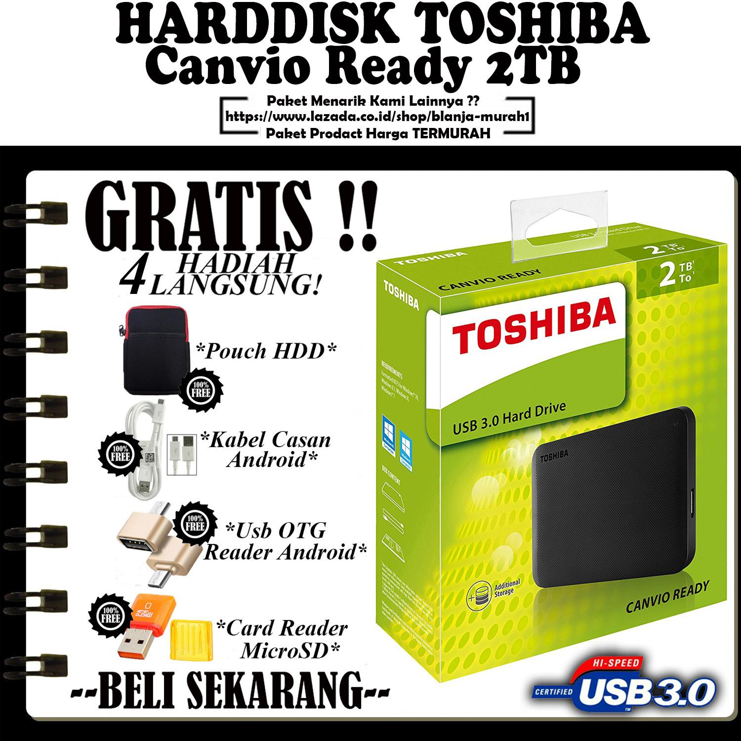Toshiba Canvio Ready 2TB - Black - GRATIS GRATIS Pouch Harddisk + Kabel Charger Casan Android + Usb