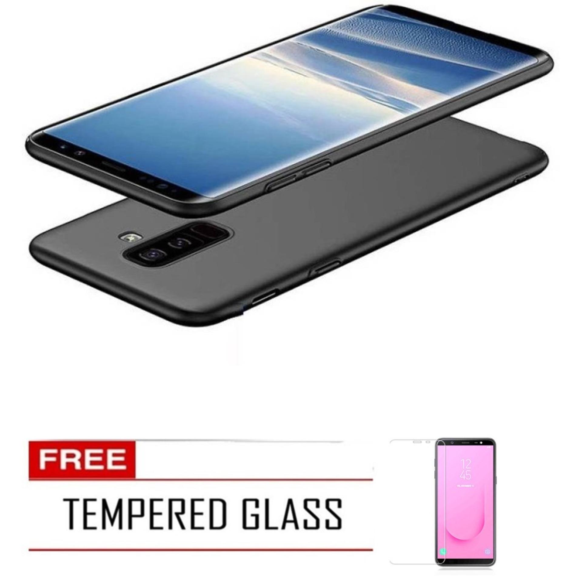 Case Ultra Thin Soft TPU Black Silicone Matte Frosted Anti-fingerprint Back Cover For Samsung Galaxy J8 2018 – Black FREE Tempered Glass