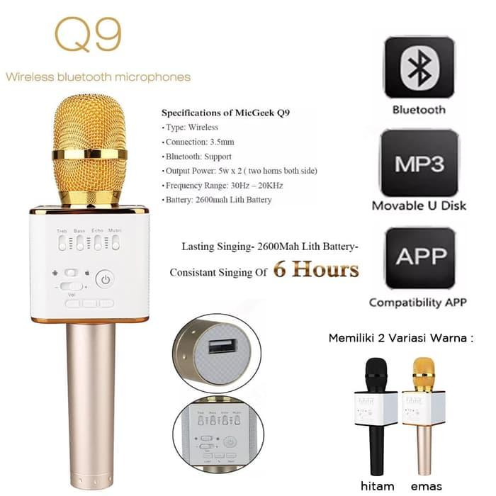 Mic Karaoke KTV Q9 Bluetooth Wireless Microphone With Speaker Karaoke - Hitam