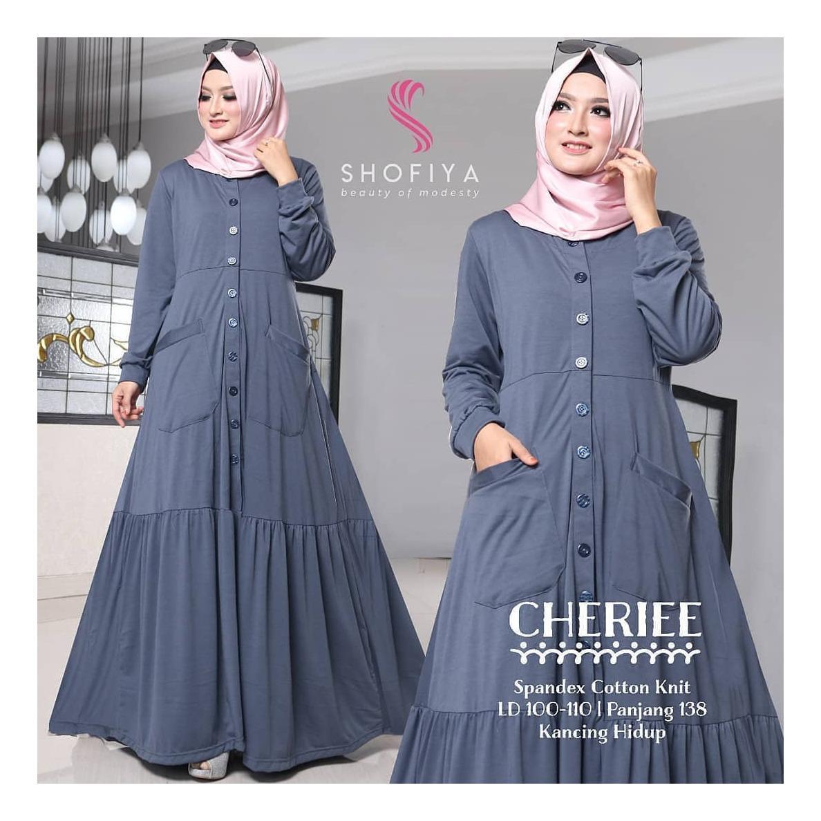 Baju Cheriee Dress Panjang Balotelly Hijab Casual Pakaian Muslim Wanita Muslim Modern Terbaru Termurah 2018