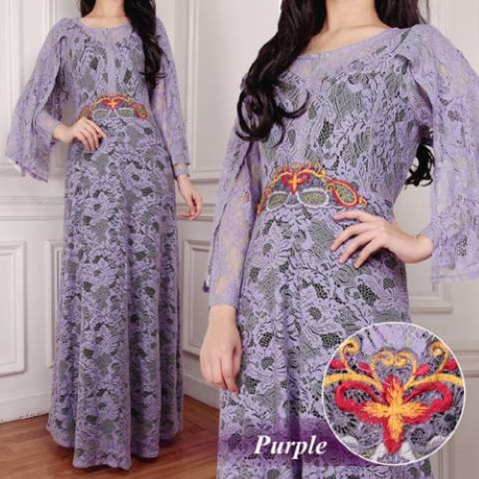 [Kaftan Maya Purple SW] kaftan wanita brukat serena ungu