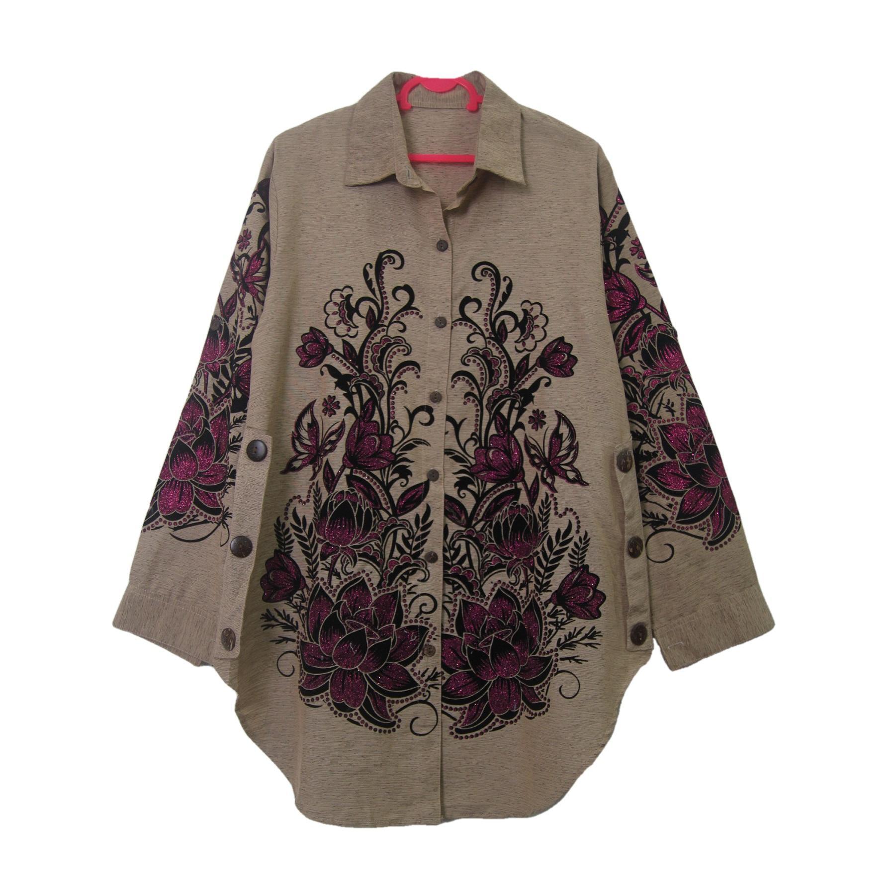Jual Baju Top Blouse Model Casual Motif Bunga Blue Pink Style Impor Atasan Blink