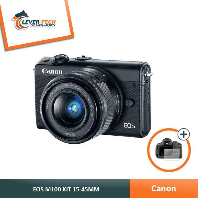 Canon EOS M100 Kit 15-45mm Kamera Mirrorless - (Free Screenguard Terpasang)