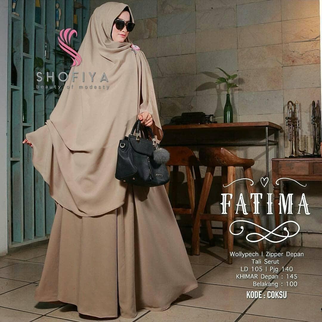 Baju Muslim Original Gamis Fatima Syari Dress Baju Panjang Muslim Casual Wanita Pakaian Hijab Modern Modis Trendy Terbaru 2018