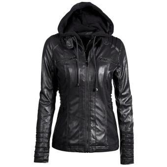 Penjualan Jaket Wanita Semi Leather Hoodie - Hitam terbaik murah - Hanya  Rp207.450 075816887e