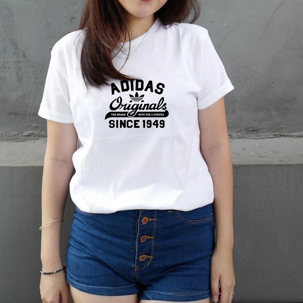 Kaos Wanita /Kaos Cewe Kaos Murah Lengan pendek Adidas Ori - Putih