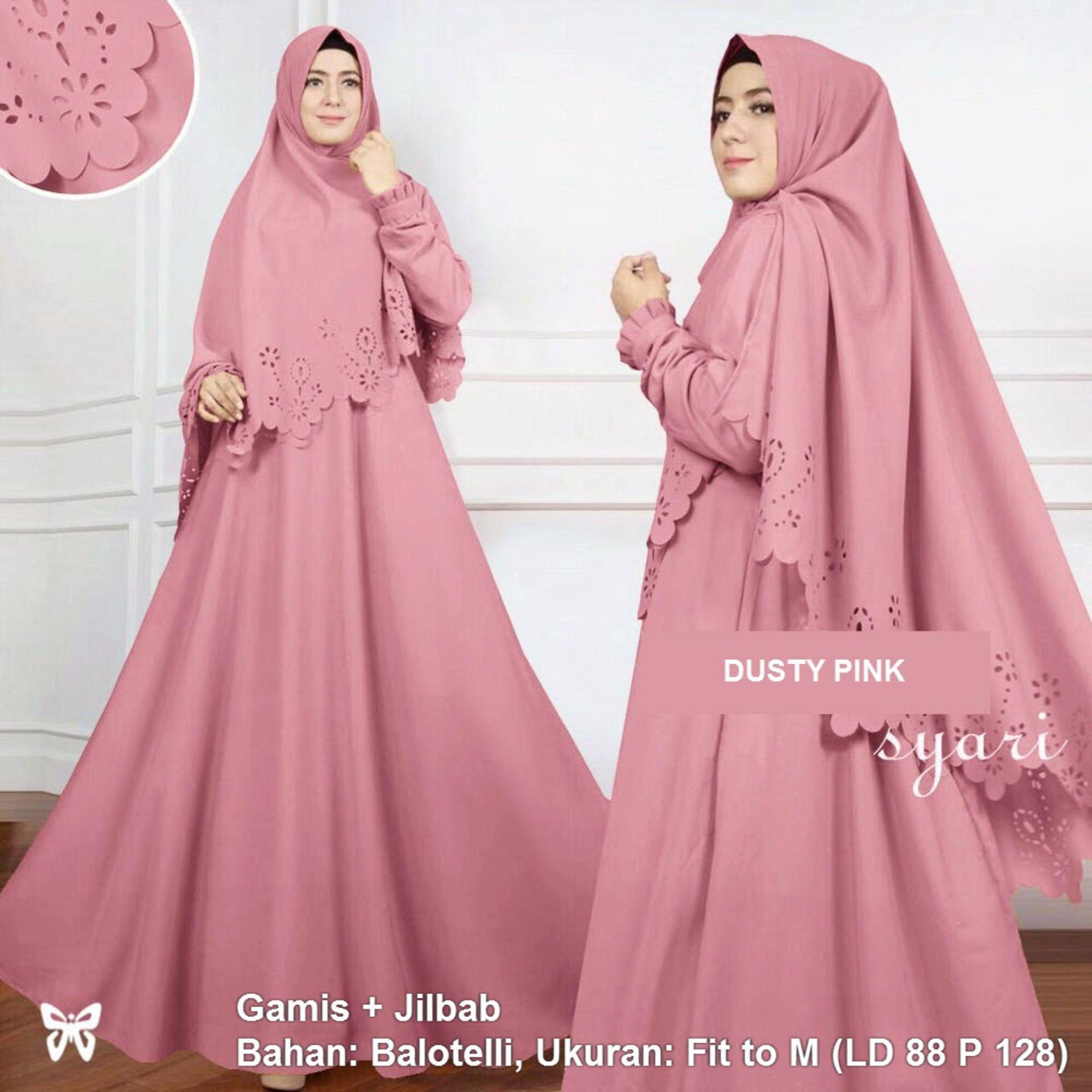 Flavia Store Gamis Syari Set 2 in 1 Laser FS0676 - DUSTY PINK / Baju Muslim