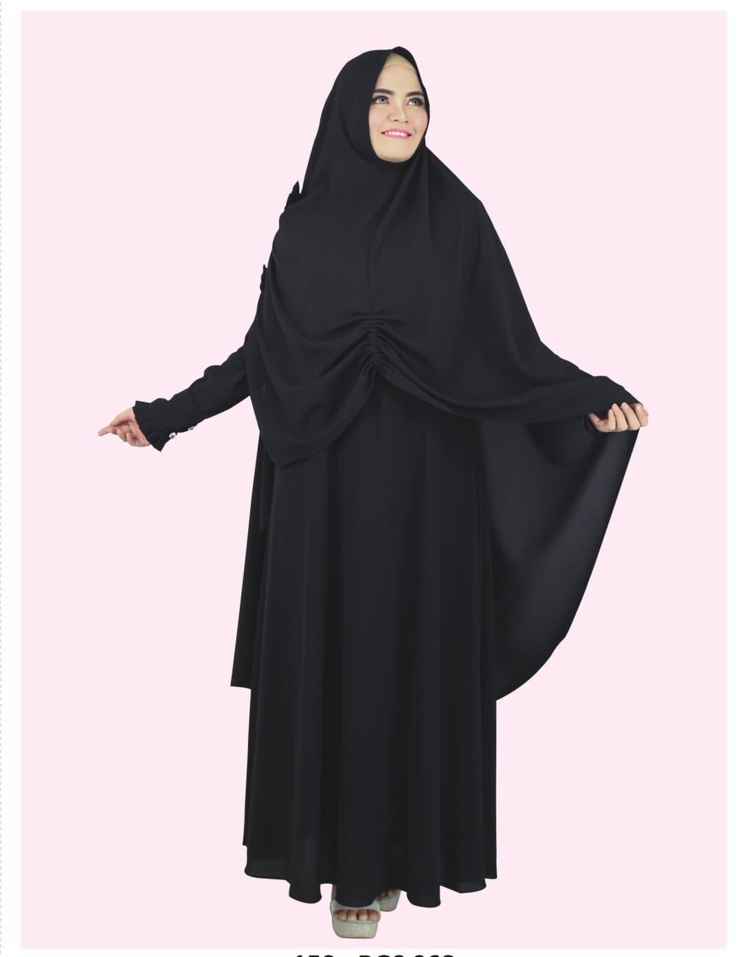 Baju Muslim Koko Pakistan Gamis Dress Setelan Wanita Pria Anak Hitam