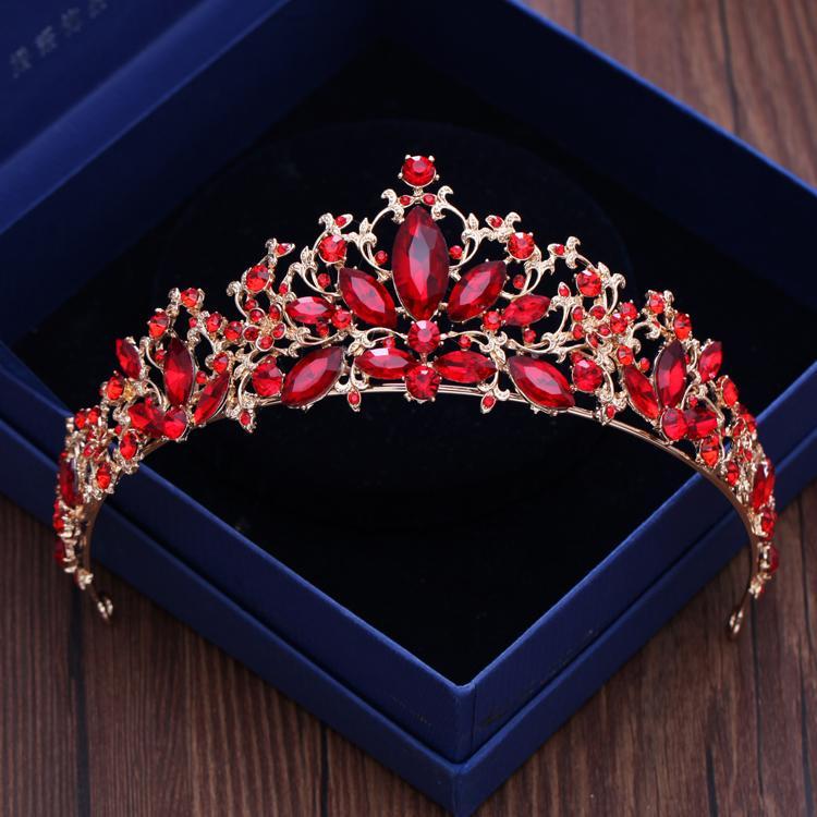 Mahkota Merah Mempelai Wanita Menikah Cina Gaun Pengantin Asesoris Kepala