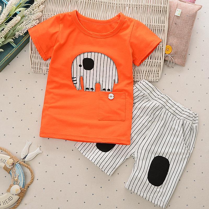 Bayi Gaya Korea Dari Anak Laki-laki Musim Panas T-shirt (Patch Seperti Oranye)