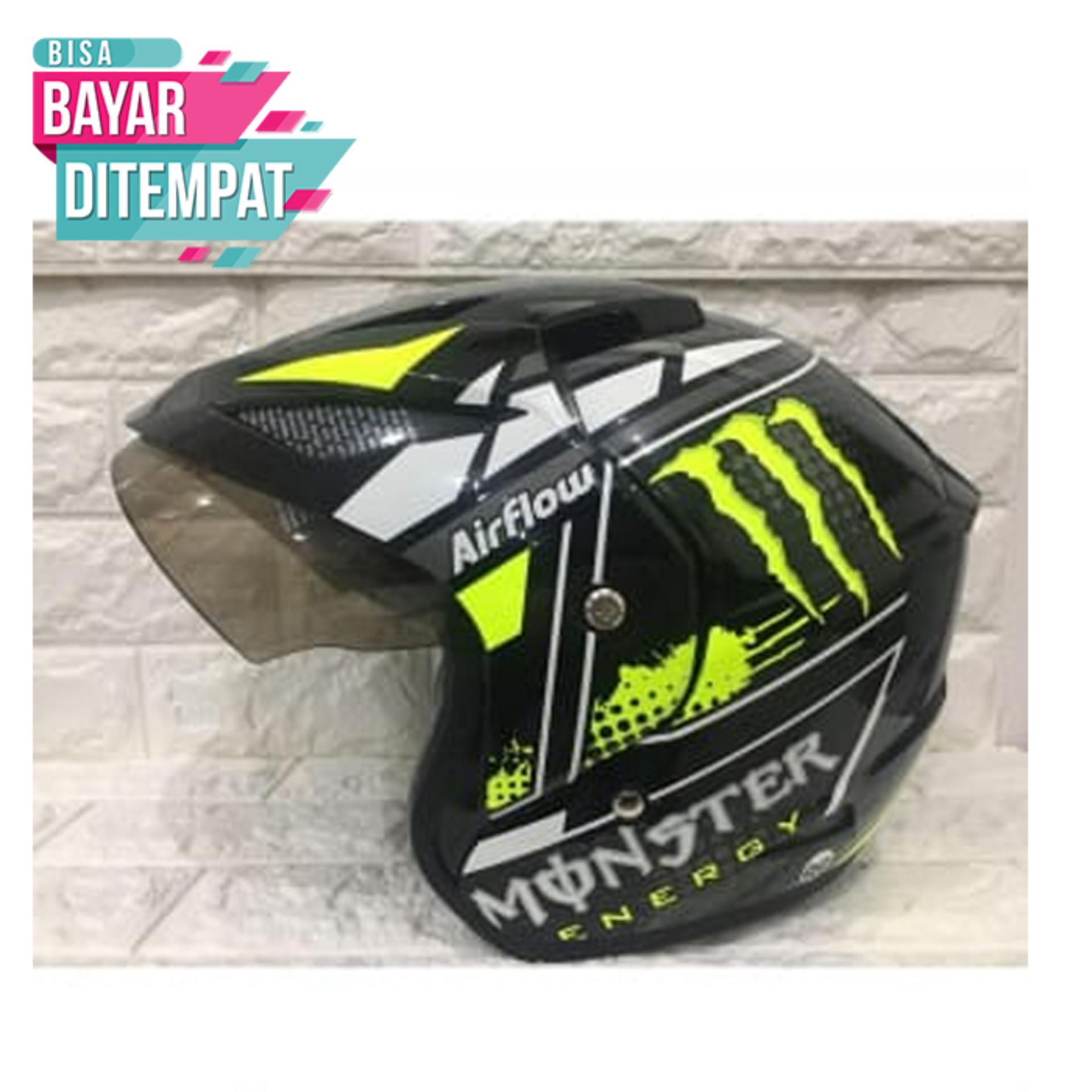 [Special Promo] Helmet Javelin - Monster - Hitam Kuning Kualitas Setara helm KYT INK GM WTO MSR BMC NHK