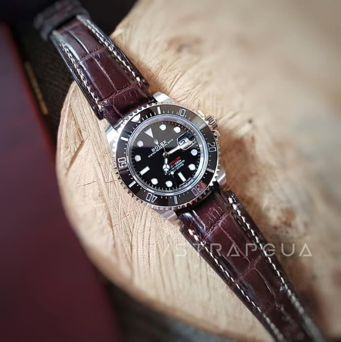 Tali jam tangan Customs Rolex Deepsea Brown Crocodile 21/18mm