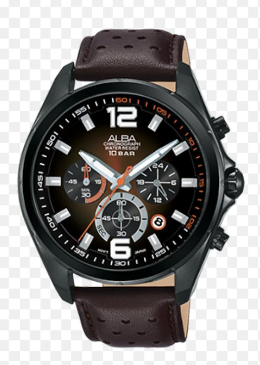 Alba AT3B55X1 Chronograph Men Dual Color Dial Ion Plating Case Brown Leather Strap