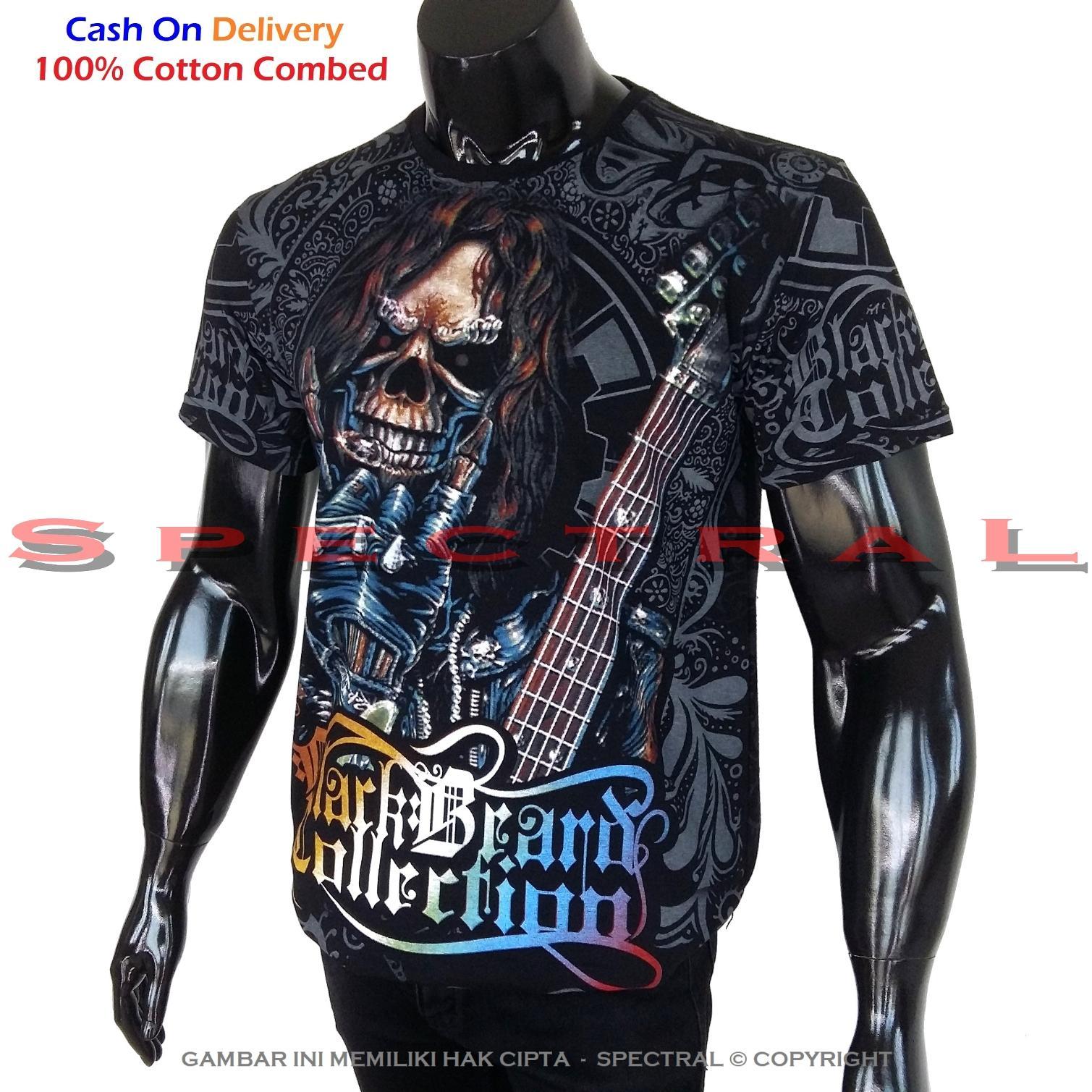 Spectral - Black Premium Cotton - Kaos Tengkorak - Pure Cotton Combed 30s - Zombie Gitar Metal Horo