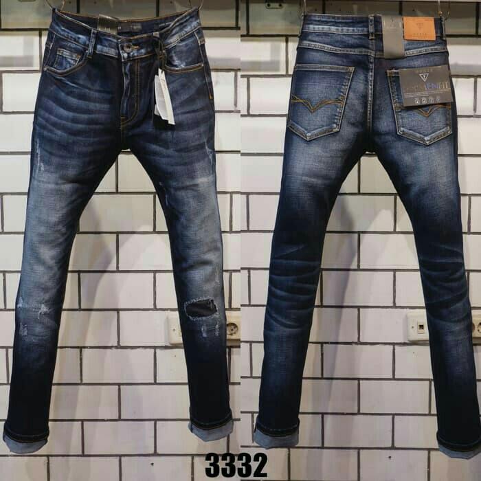 Celana Jeans Panjang Branded GUESS Premium Dark Navy Ripped Celana Pria  Wanita Unisex Import MIRROR QUALITY 18a578c20a