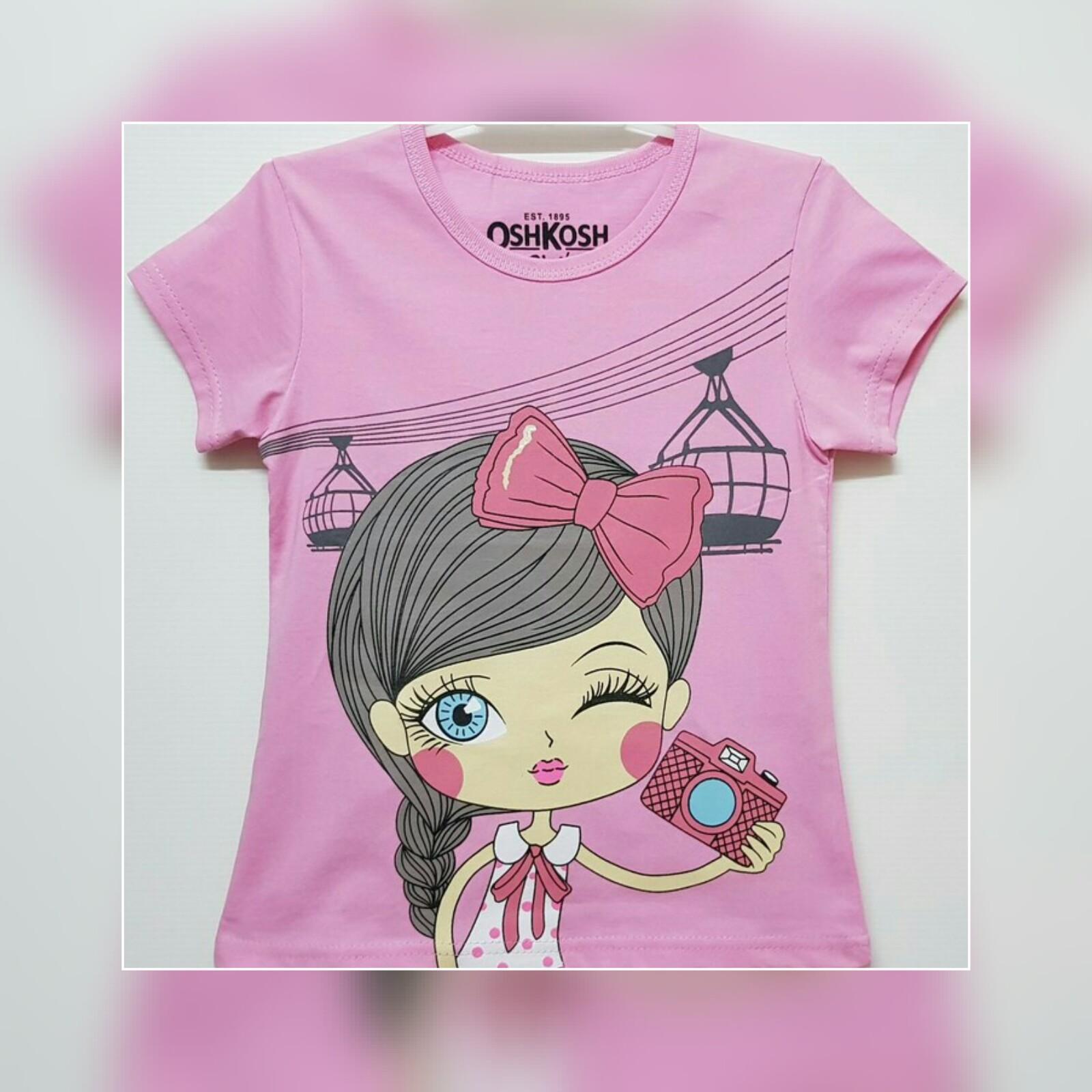 Baju kaos atasan anak perempuan camera Pink