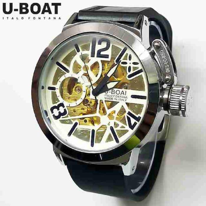 Hemat 10%!! Jam Tangan Pria U-Boat Skeleton Ub1 Rubber Black White Automatic - ready stock
