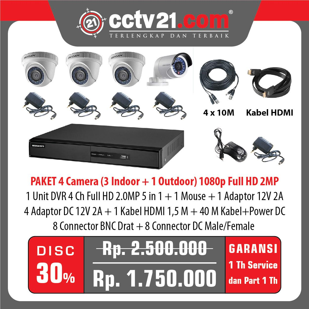 Promo Paket  4 CCTV (Full HD 2MP) 3 Indoor-1 Outdoor +4 Adp 2A+40mtr Kabel -DVR Full HD 4Ch 5 in 1