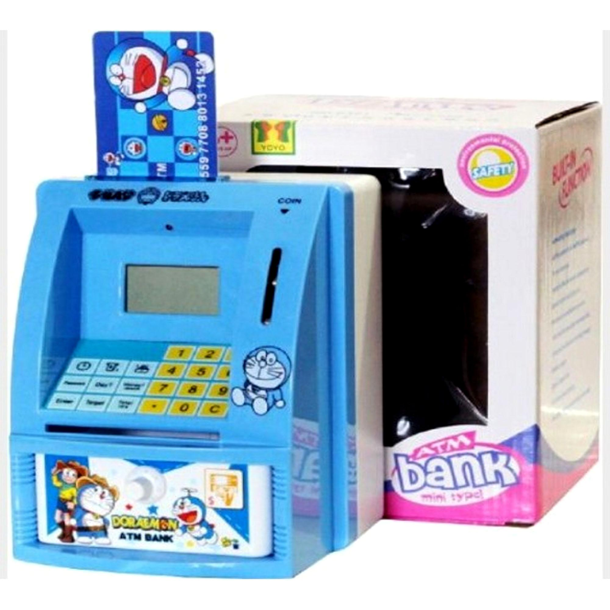 Fio Online Mainan Edukasi ATM Bank Mini Celengan ATM Mini Otomatis Bahasa Indonesia Rupiah - Kitty atau doraemon - pink atau biru